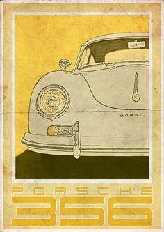 Porsche 356 delantero  cartel de estilo Vintage