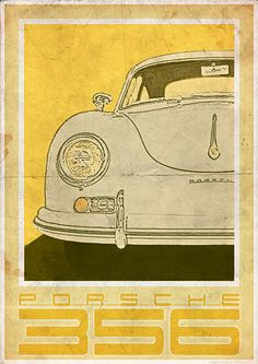 Porsche 356 front  Vintage Style Poster by 3ftDeep on Etsy, £17.49