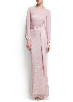 MANGO - Pink Lace gown for mother of the bride Kebaya Modern Dress, Kebaya Dress, Hijab Chic, Pretty Dresses, Beautiful Dresses, Muslimah Wedding Dress, Hijab Stile, Hijab Dress Party, Dress Brokat