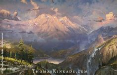 """""""Twilight Vista"""" was released in March 1999. The mountain scene is partially Yosemite and partially the Adirondacks.  Thom was inspired when he visited the Oakland Museum when he was an art student. Learn more: https://thomaskinkade.com/art/twilight-vista/?ref=13"""
