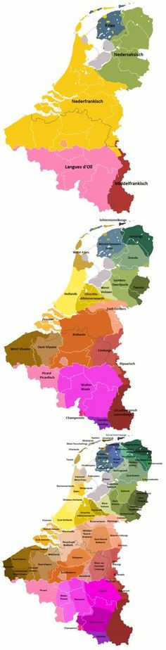Language & Dialects of The Netherlands, Belgium & Luxembourg Netherlands Map, European Languages, Web Languages, Dutch Language, Historical Maps, Poster S, Old Maps, European History, Low Country