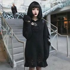 I think I'm allergic to morning. Hot Goth Girls, Gothic Girls, Gothic Lolita, Goth Beauty, Dark Beauty, Alternative Girls, Alternative Fashion, Dark Fashion, Fashion Looks