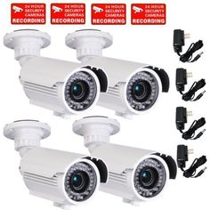 VideoSecu 4 Pack Built-in SONY Effio CCD Home CCTV Video IR Zoom Bullet Security Surveillance Cameras 700 TVL Outdoor Day Night Vision 4-9mm Zoom Focus Lens 42 Infrared Leds for DVR Surveillance System with Power Supplies and Security Warning Decals CMN by VideoSecu. $477.46. VideoSecu supplies a broad variety of high-quality, well-designed and easy-installed security cameras at affordable prices. The professional security camera IRE96W is one of the most advanced a...