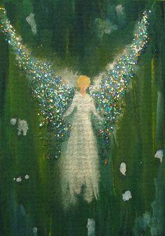 ACEO Original Angel Painting Spiritual Inspirational Healing Energy by Breten Bryden BrydenArt.com #Angels