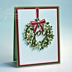 Joy Merry Christmas Wreath Greeting Card Handmade in Green Red White Gold    The beautiful dimension and simplicity of this card is sure to please the