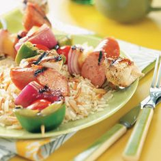 Kielbasa Chicken Kabobs Recipe from Taste of Home -- shared by Cristi Smay of Clearfield, Pennsylvania