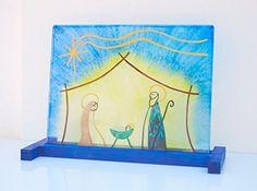 Nacimiento de vidrio pintado a mano - Belén - Decoración de Navidad - Sobremesa - Base de madera