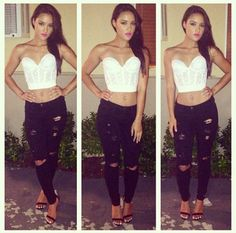 Love the jeans! Love the corset top!
