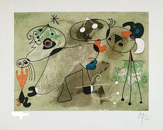 """Joan Miro, """"Composition sur fond vert,"""" 1950, lithographie et pochoir 381/400, 13"""" x 18.25"""""""