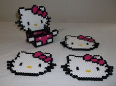 Hello Kitty perler beads coaster set by melanieballestrazze