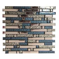 Mosaic Tile Sheets, Mosaic Wall Tiles, Marble Mosaic, Mosaic Glass, Mosaics, Navy And Copper, Blue And Silver, Glass Brick, Linear Pattern