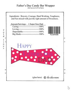 Print these Father's Day Gift Candy Bar Wrappers for a fun and simple Gift for Dad this Father's Day! Simply print the free Fathers Day Template and you have a simple gift idea! Candy Bar Wrapper Template, Candy Bar Wrappers, Easy Diy Gifts, Simple Gifts, Happy Fathers Day, Fathers Day Gifts, Fathersday Crafts, Unique Gifts For Dad, Chocolate Bar Wrappers