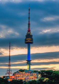 Namsan Tower - photo by Seoul Skyline, Korea Wallpaper, Nature Pictures, Cn Tower, South Korea, Cool Photos, Scenery, Wattpad, Seoul Korea