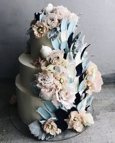 42 Beautiful Wedding Cakes The Best From Pinterest ❤ beautiful wedding cakes cascade with petals floral blue kalabasa #weddingforward #wedding #bride