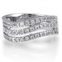 Sterling Silver 3-Row Round Cubic Zirconia CZ Accent Band Ring