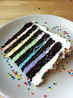 I like the frosting being colored rather than the cake. Fun cake