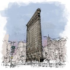 Flatiron Building New York Sketch, City sketch Handmade drawing  Digitally printed on Premium Archival Matte Paper This heavyweight matte finish paper is engineered for high contrast and crisp reproduction of high resolution images. It is acid-free for archival longevity  NOTE: Colors may vary from screen to screen. Unframed  I send my prints off to their new home within 1-5 days of payment. I ship my international orders by air after Im notified of your payment, and taking between 10 to 20…
