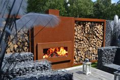 Zeno Products Corten Steel Outdoor Pieces, fireplaces and woodstorages.