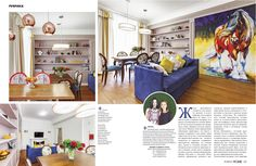 Совмещенные гостиная, кухня и обеденная зоны. Интерьер квартиры для молодой семьи. Интерьер студии U-Style. Журнал HOME Interior,  № 03(04') 2014, с. 160-161
