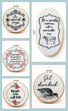 Loving this funny quotes cross stitch collection.