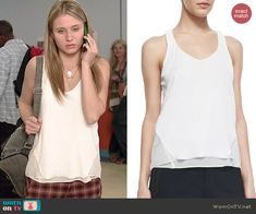 Amy's white layered tank top on Faking It.  Outfit Details: http://wornontv.net/41173/ #FakingIt