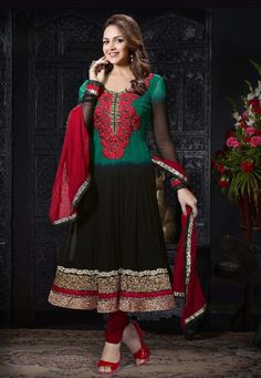 Desginer Suit ! Black & Green #Georgette kameez designed with Zari, resham embroidery with patch patta Work. Available with Maroon #Santoon Bottom with matching #Chiffon Dupatta.  Price Flashed (Now Get Product @35% Low Rate ) INR:-3257
