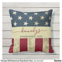Vintage USA American Flag Rustic Family Name Outdoor Pillow 4th Of July Party, Rustic Outdoor, Outdoor Pillow, Designer Throw Pillows, Artwork Design, American Flag, Vintage Shops, Red And Blue, Usa