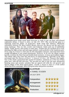 "Alustrium  ""A Tunnel to Eden"" album review (Milfits 'zine)"