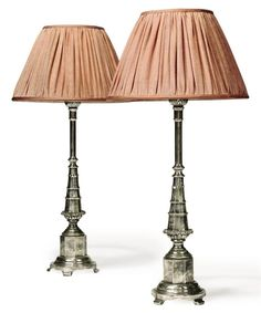A PAIR OF SILVERED CAST BRASS 'TILBROOK' TABLE LAMPS