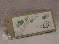 Lola's Kartenwelt: Wieder eine längliche Hochzeitskarte - diesmal in Grün