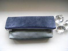 Clutch, Braun, Grau/Blau, Leder, Etui, Tasche von motten auf DaWanda.com