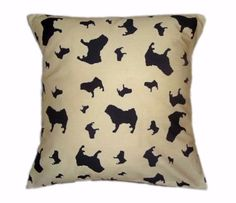 Pug Silhouette Breed Specific Dog Cushion And Cover Beige Cream Dog Cushions, Silhouette, Cushion Pads, Pugs, Beige, Throw Pillows, Cover, Fabric, Prints