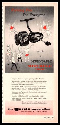 1959 GARCIA MITCHELL 300 Vintage Spinning Fishing Reel AD