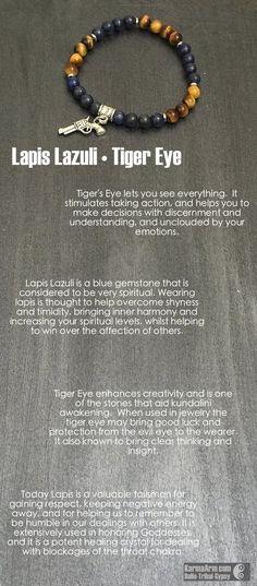 Yoga Meditation. Healing Spiritual Mala. Bead Bracelet. - LOVE IS A BATTLEFIELD: Lapis • Tiger's Eye Yoga Mala Bead Bracelet - Karma Arm. - 4