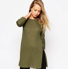 #2409 European Style Side Split Long Sleeve T Shirt Women Fashion Poleras Mujer Tee Shirt Women Camisas Femenina Cotton Army US $14.37 - http://armyboots.top/2409-european-style-side-split-long-sleeve-t-shirt-women-fashion-poleras-mujer-tee-shirt-women-camisas-femenina-cotton-army-us-14-37/