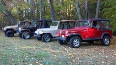 We have 4 Wranglers in our family.  The red one in the photo above is mine (the 'old man').  The Sahara is my son's Jeep, and the other 2 Wranglers are