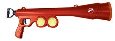 Interactive dog tennis ball launcher. Launches up to 65 feet! Easy to transport with removable shoulder strap, convenient hands free pick-up so no more slobbery balls and extra storage area with two tennis balls included for quick load and launch!