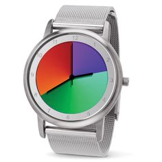 The Prismatic Hue Watch - Hammacher Schlemmer. This is the watch with a face that displays an array of prismatic colors that seamlessly transition with each passing second. Check out the video on hammacher.com