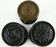 Lot of 3 Antique Victorian Cast Iron Door Knobs with Rosettes