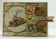 The Stampin' Schach: Traveler...a Peek from the New Catalog for Pals Paper Arts:  Stamp Sets: Traveler, Gorgeous Grunge, Postage Due, Really Good Greetings:  Inks:  Soft Suede, Cajun Craze, Crushed Curry, Always Artichoke:  Markers on the sentiment: