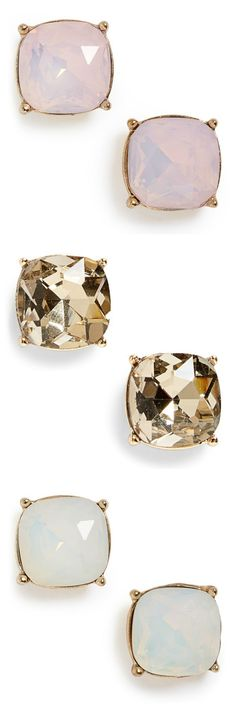 Crushing on all three of these shiny stone stud earrings.