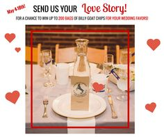 Wedding Contest - Billy Goat Chip Company's Send us Your Love Story contest - a chance for you to win up to 200 1.25 oz bags of Billy Goat Chips for your wedding favors!