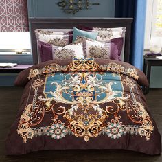 Brown Gold and Blue Moroccan Style Bohemian Inspired Southwestern Themed 100% Brushed Cotton Full, Queen Size #Bedding #Bedspread #Bedroom Sets