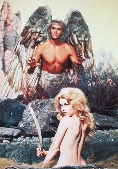 "vintagegal: "" John Phillip Law and Jane Fonda in Barbarella "" Jane Fonda Barbarella, Cat Ballou, Best Actress, Sci Fi Fantasy, American Actress, Horror Movies, Science Fiction, Movie Tv, The Past"