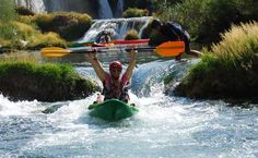 Kayaking on Zrmanja river in Croatia, just after the Big Waterfall that is 12 meters high - it just makes you smile!