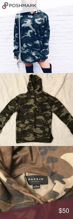 Draw String Camo Hoodie worn once, size men's Large. feel free to make me an offer!  PacSun Tops Sweatshirts & Hoodies