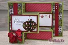 Holiday Happiness Tri-Fold Shutter Card Christmas Cards To Make, Xmas Cards, Homemade Christmas Cards, Holiday Cards, Chrismas Cards, Christmas 2017, Step Cards, Winter Cards, Paper Cards
