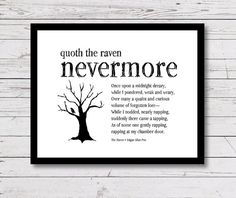 Quote from THE RAVEN by Edgar Allan Poe. Printable wall art quote for home decor and gift giving.  ➤ Click here for more Halloween prints: