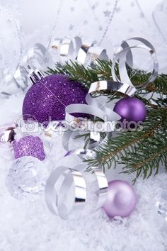 silver and purple christmas decorations - Google Search