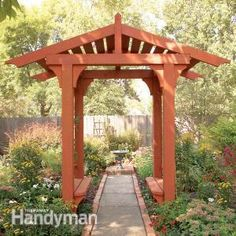Learn how to build a pergola in your backyard to shade a stone patio or deck. These pergola plans include wood beams and lattice set on precast columns. Diy Pergola, Building A Pergola, Outdoor Pergola, Wooden Pergola, Pergola Ideas, Pergola Lighting, Cheap Pergola, Pergola Shade, House Building